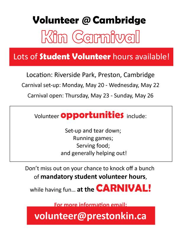 student volunteers email info@prestonkin.ca